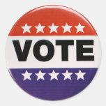 Red White & Blue Vote Design Round Sticker