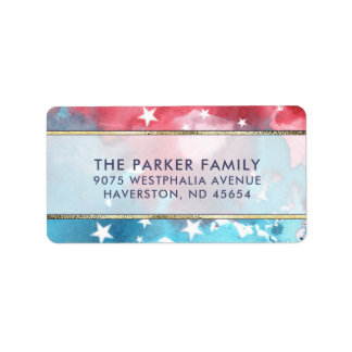 Red White & Blue Watercolor with Stars Address Label