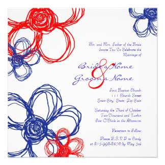 Red White Blue Wild Flowers Wedding Invitation