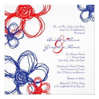 Red White Blue Wild Flowers Wedding Invitation