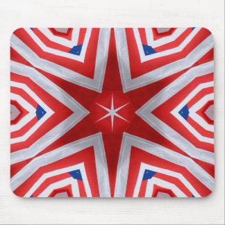 Red, white & blue with stars kaleidoscope mouse pad