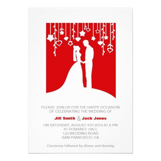 Red & White bold stylish modern wedding invitation