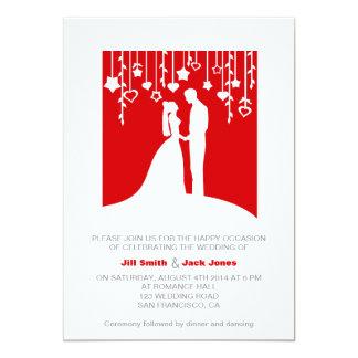 "Red & White bold stylish modern wedding invitation 5"" X 7"" Invitation Card"