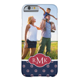 Red & White Buoy Pattern  Your Photo & Monogram Barely There iPhone 6 Case