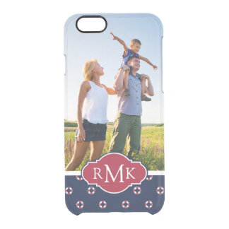 Red & White Buoy Pattern| Your Photo & Monogram Clear iPhone 6/6S Case