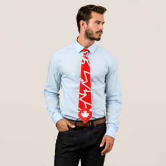 Red White Canadian Maple Abstract Pattern. Tie