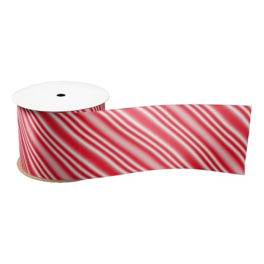 Red & White Candy-Cane Striped Ribbon Satin Ribbon