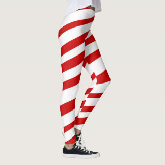 Red White Candy Cane Stripes Christmas Holidays Leggings