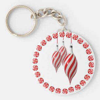 RED & WHITE CANDY WREATH by SHARON SHARPE Keychain