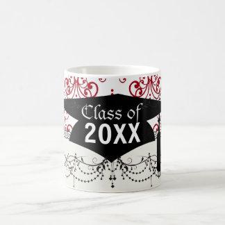 red white chandelier heart damask graduation mugs