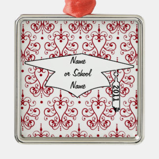 red white chandelier heart damask graduation Silver-Colored square decoration