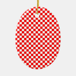 Red & White Checked Pattern Christmas Ornament