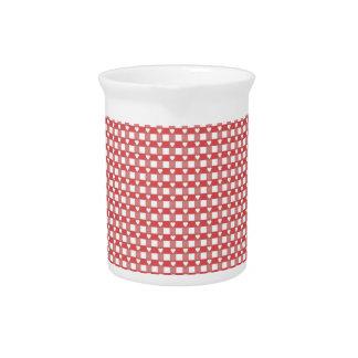 Red & White Checker w/ Hearts Pitcher