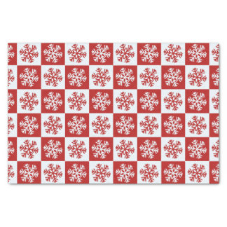 Red white checkerboard snowflake tissue paper