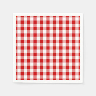 Red & White Checks Gingham Plaid- Country Rustic Disposable Serviette