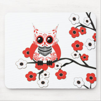 Red White Cherry Blossom Owl Mousepad