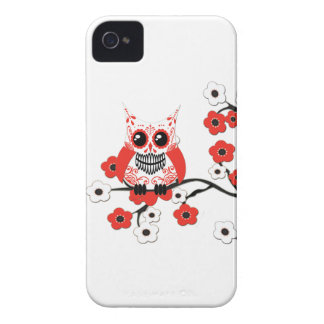 Red White Cherry Blossoms Owl Case