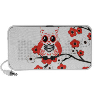 Red White Cherry Blossoms Owl Doodle PC Speakers