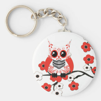 Red White Cherry Blossoms Owl Keychain