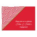 Red white chevron engagement anniversary CUSTOM Custom Invitation