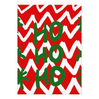 Red White Chevron Ho Ho Ho Christmas Pattern Card