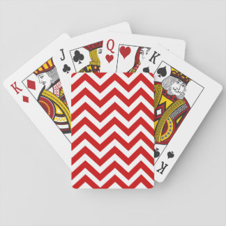 Red White Chevron Line Pattern Playing Card