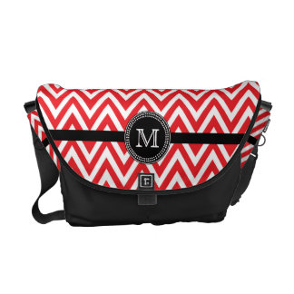 Red white chevron monogram Rickshaw messenger Commuter Bags