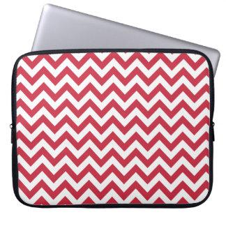 Red White Chevron Pattern Laptop Sleeve