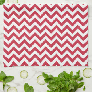 Red White Chevron Pattern Tea Towel