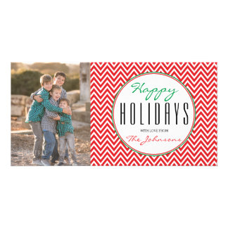 Red & White Chevron Personalized Photo Xmas Card Personalised Photo Card