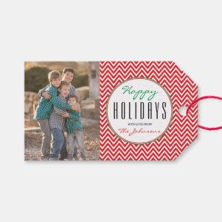 Red & White Chevron Personalized Xmas Photo Gift Tags