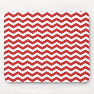 Red White Chevron. Zigzag Pattern Mousepads