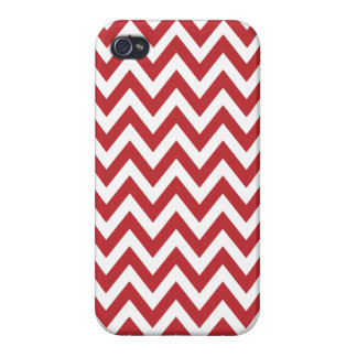 Red White Chevron Zigzag Stripes Cases For iPhone 4