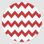 Red White Chevrons Sticker Round Sticker