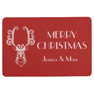 Red & White Christmas Reindeer Personalized Floor Mat