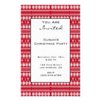 Red White Christmas Snowflake Pattern 14 Cm X 21.5 Cm Flyer