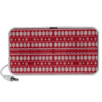 Red White Christmas Snowflakes pattern Notebook Speaker