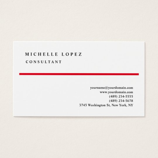 Red White Classical Elegant Plain Professional Business Card