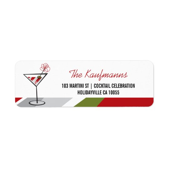 Red White Cocktail Martini Holiday Address Labels
