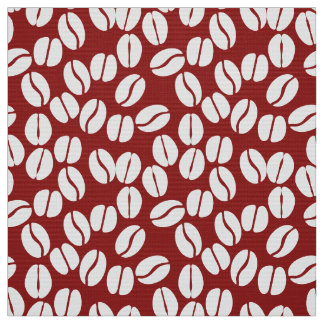 Red white coffee beans pattern fabric