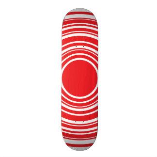 Red White Concentric Circles Bulls Eye Design Custom Skateboard