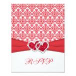 Red & White Damask & Hearts RSVP Card Custom Invite