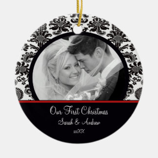 Red White Damask Photo First Christmas Ornament