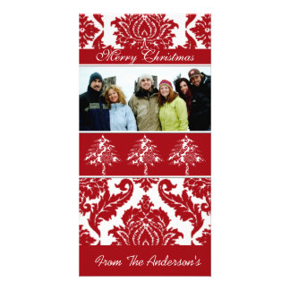Red & White Damask Pine Holiday Family Pictures Personalised Photo Card