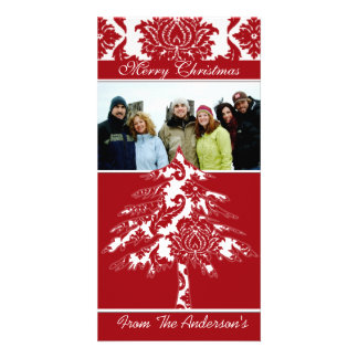 Red & White Damask Pine Holiday Family Pictures Personalized Photo Card