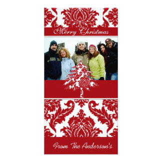 Red & White Damask Pine Holiday Family Pictures Photo Card Template