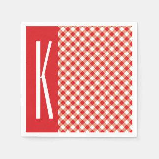 Red & White Diagonal Gingham. Paper Serviettes