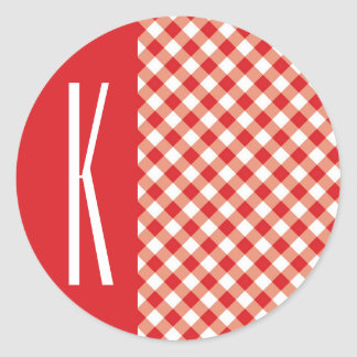 Red & White Diagonal Gingham. Round Sticker
