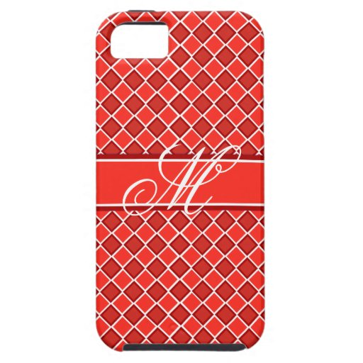 Red White Diamond Monogram Pattern iPhone 5 Covers