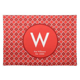 Red White Diamond Monogram Pattern Placemat